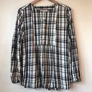 LOFT Black and White Plaid Blouse, Long Sleeved